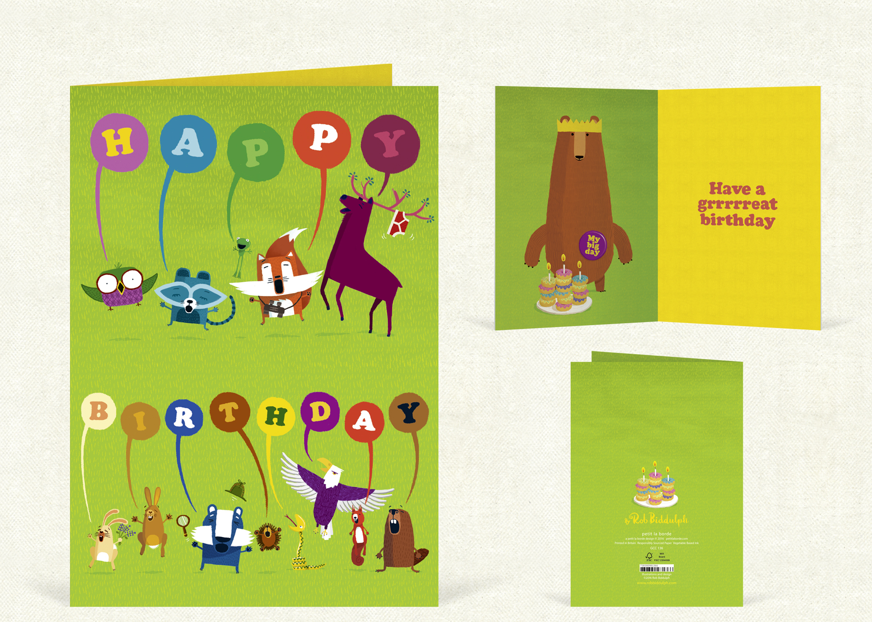 Happy Birthday  (120mm x 170mm). With gold foil detail.   Click   here   to buy.