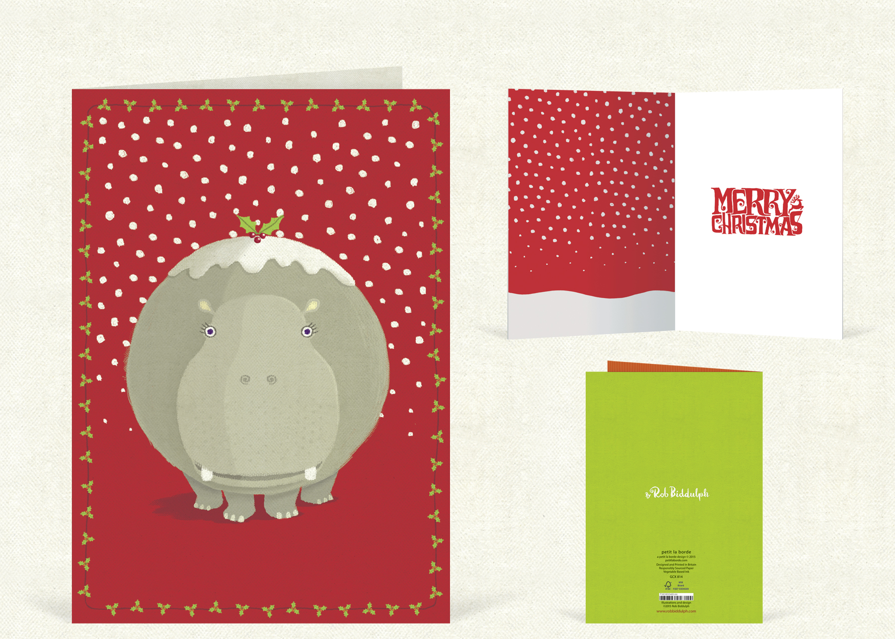Hippo Christmas  (120mm x 170mm).  Click   here  to buy.