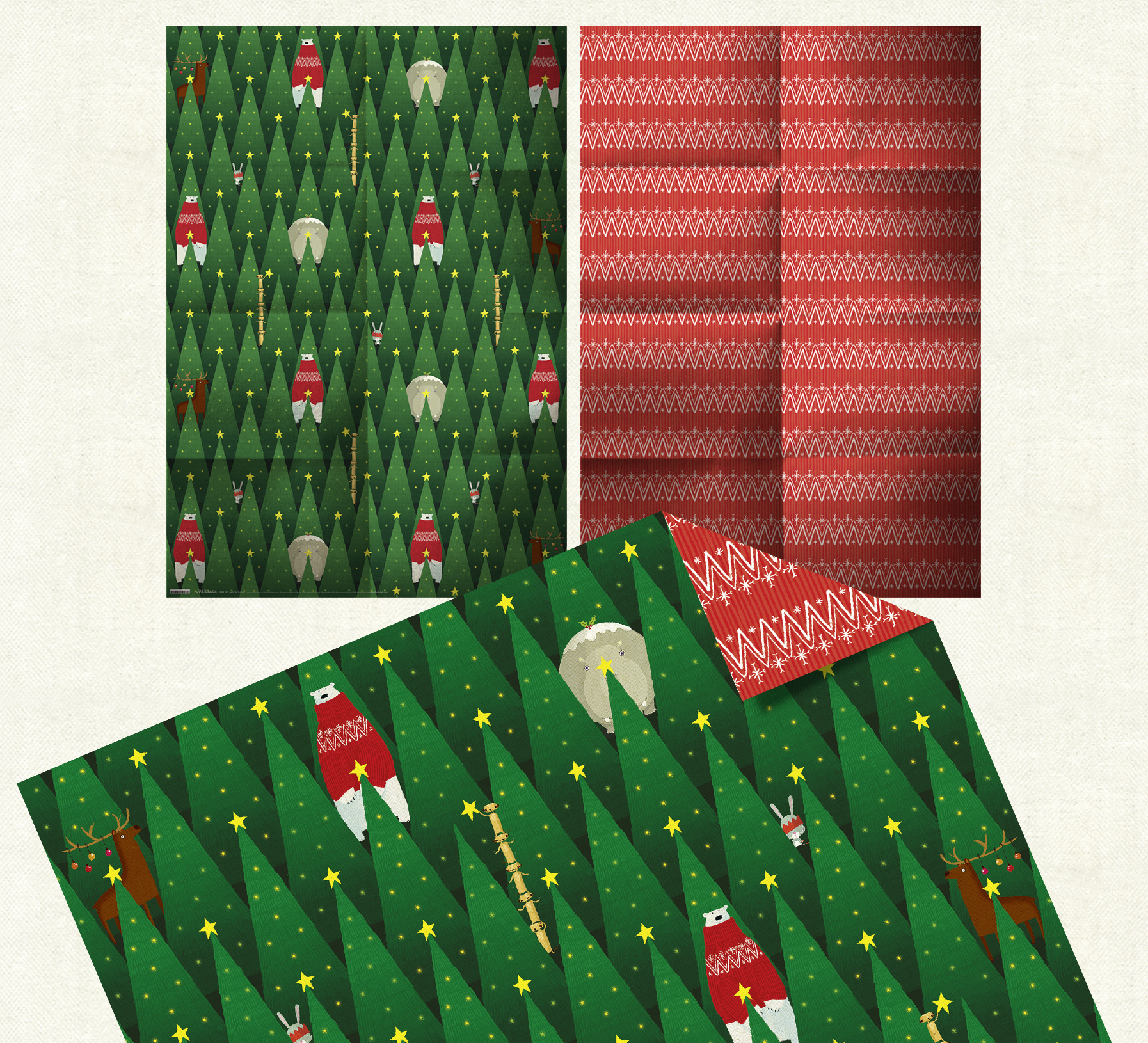 Double-sided      Joyeux     No   ë   l  Christmas wrap. Click  here  to browse the Christmas range.