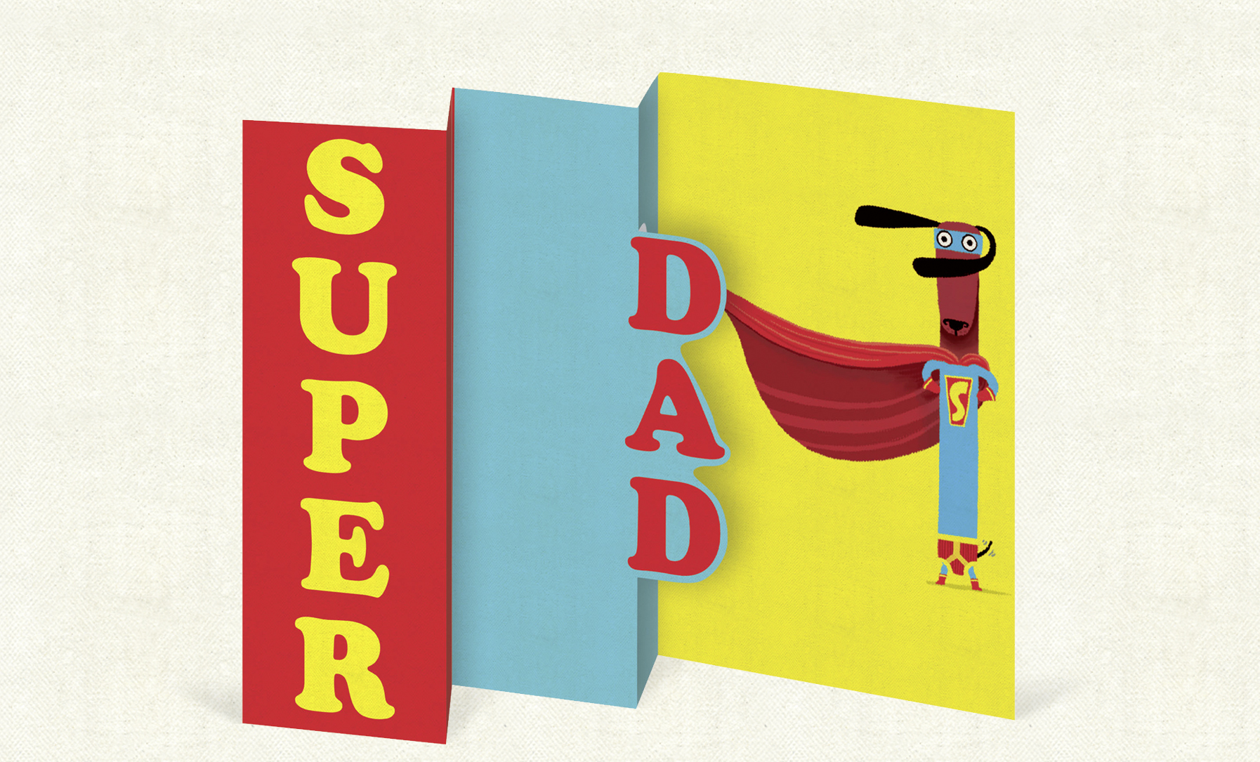 Super Dad    (97mm x 147  mm). Trifold laser cut card on luxurious antique-wove board.  Click   here  to buy.
