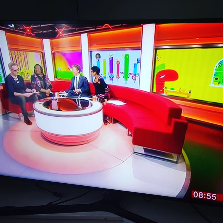 On the BBC Breakfast sofa with Malorie Blackman, Charlie Stayt and Naga Munchetty.