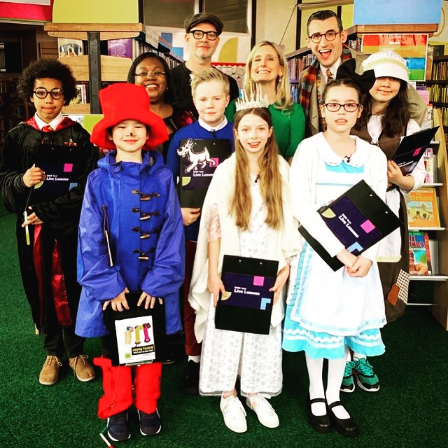 With Malorie Blackman, Cressida Cowell, Ben Shires and fabulously attired children at our BBC Live Lessons broadcast in Sale.