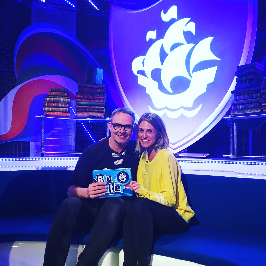 With Abi Elphinstone on the Blue Peter set.
