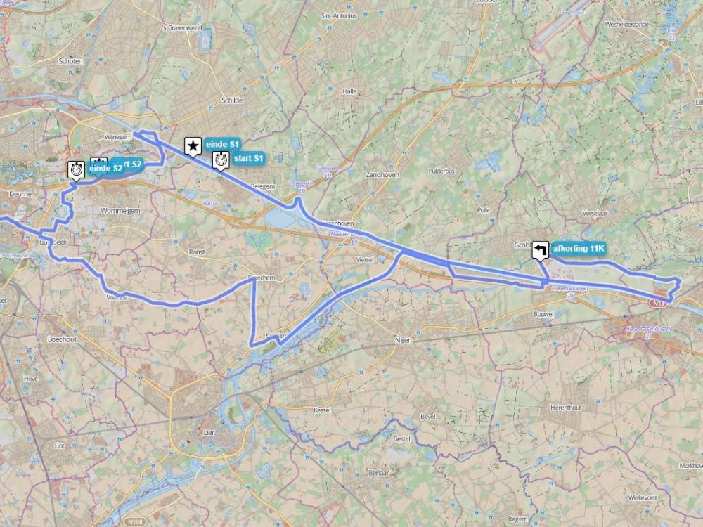 60/71 km - ZWART/ROOD - De vaste woensdagavond-rit voor groep rood en zwart. Via Deurne en Borsbeek richting Netekanaal en terug langs Grobbendonk en Wijnegem. Bij langere zomeravonden 71 km, met extra lus via Herentals.