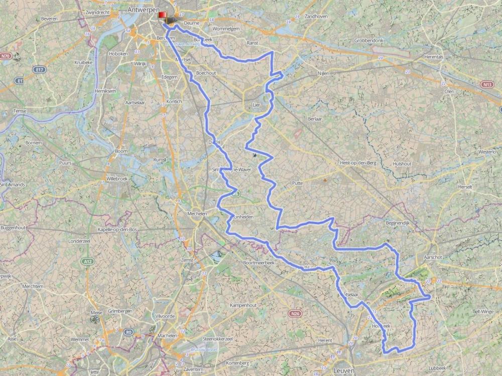 136 km - HOLSBEEK - GROEPEN > 15De chartreuze-berg, het Rot,...Een rit vanuit Antwerpen met toch enkele hoogtemeters