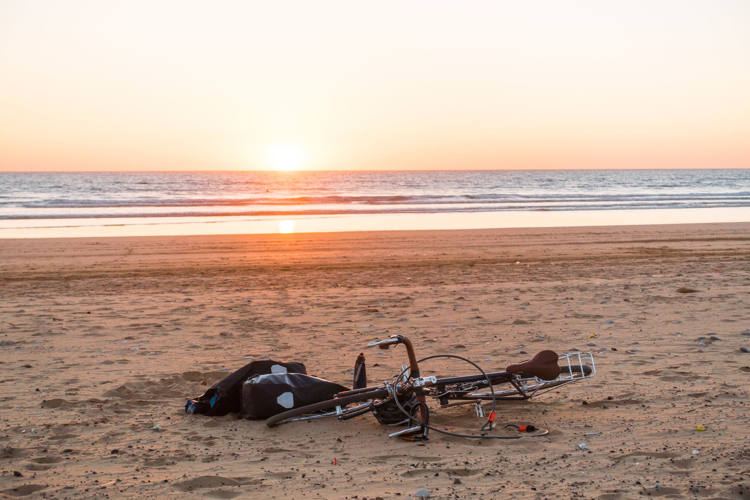 Enjoying a sunset on the empty beaches of Morocco's southern coast.