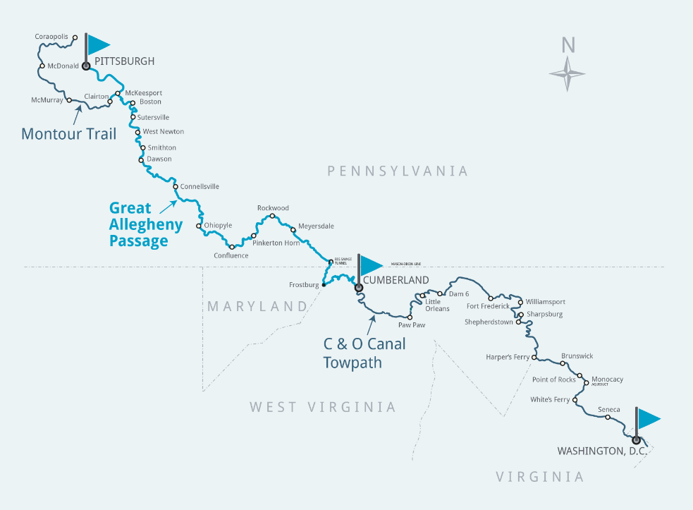 The Montour Trail, Great Allegheny Passage, and C&O Canal Towpath; map courtesy of gaptrail.org. Not pictured are the Western Maryland Rail Trail (hugging the C&O east of Little Orleans), the MacArthur Boulevard bike path and the Capital Crescent Trail (picking up within 20 miles of DC), and the Washington & Old Dominion and Custis Trails (crossing into Virginia at White's Ferry and back into DC at Georgetown).