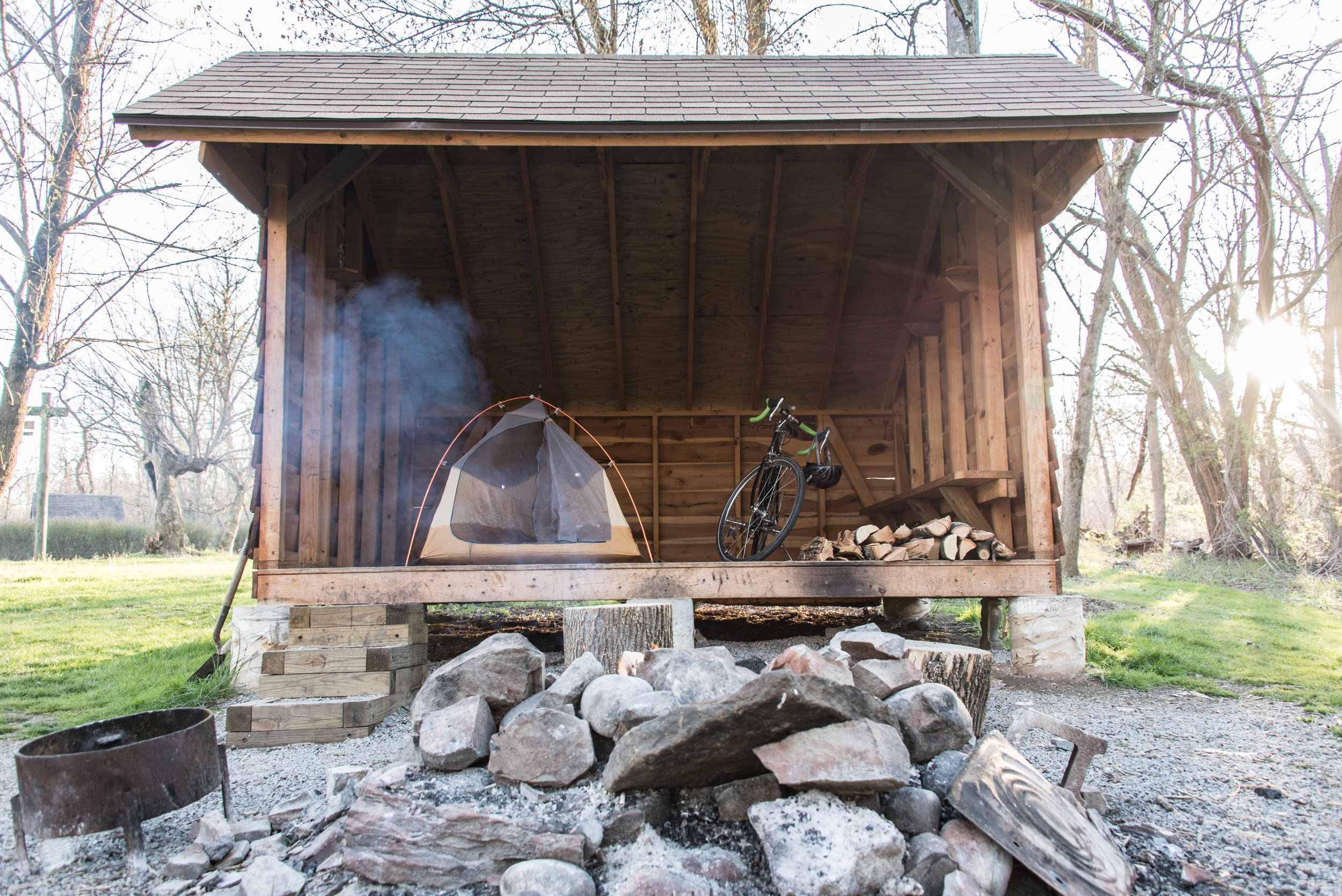 One of many free campsites along the Great Allegheny Passage and C&O Canal Towpath.