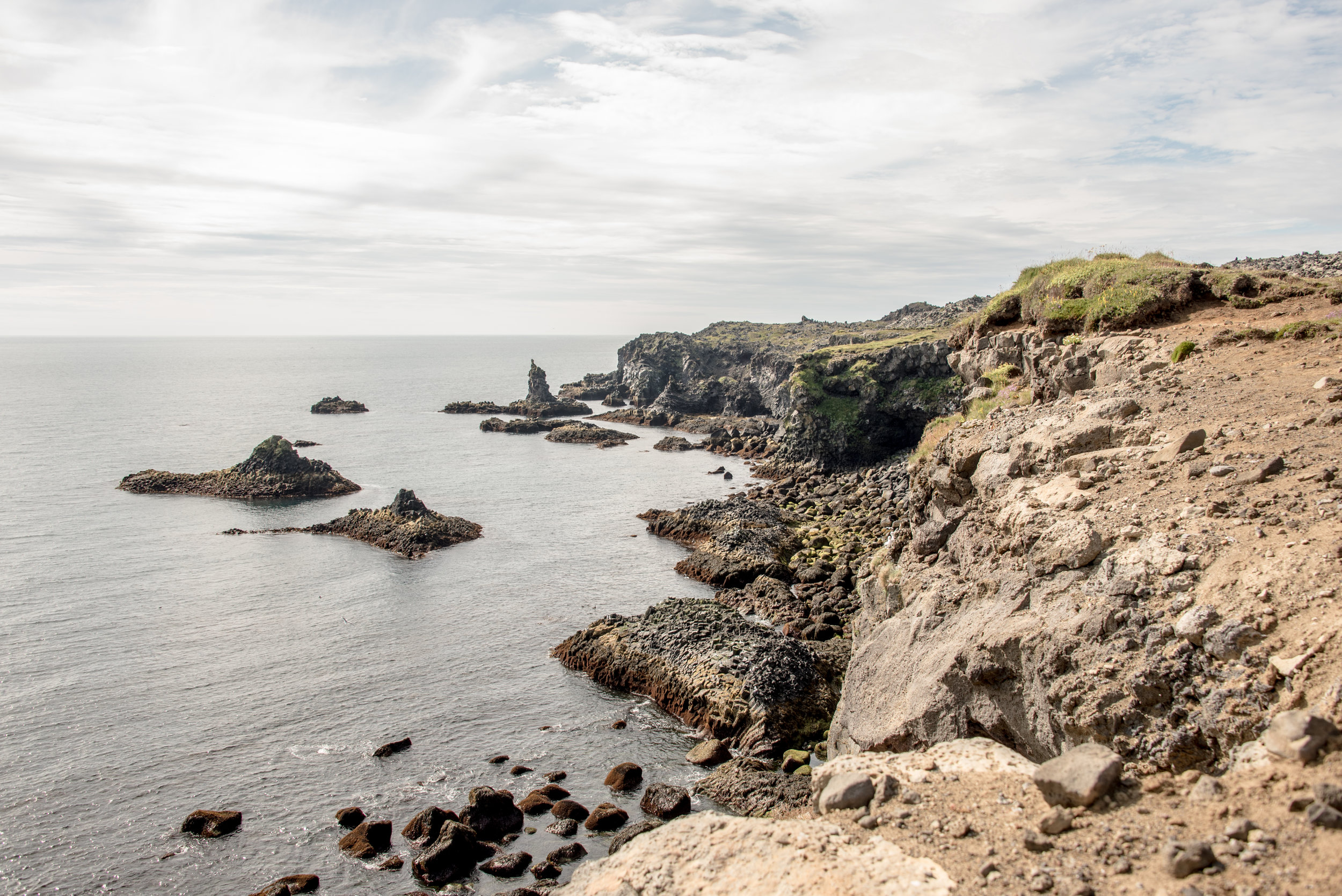 The coast between Arnarstapi and Hellnar, on the Snaefellsnes peninsula.