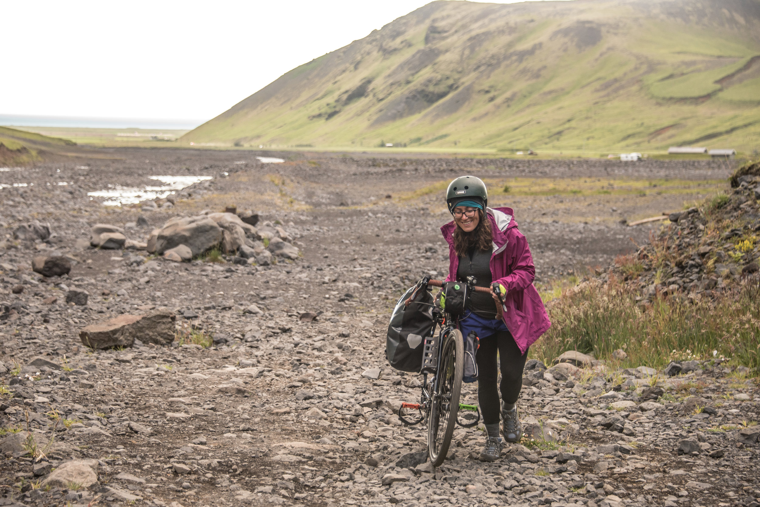 En route to an abandoned geothermal pool in southern Iceland. When the pushing gets tough, the tough get pushing.