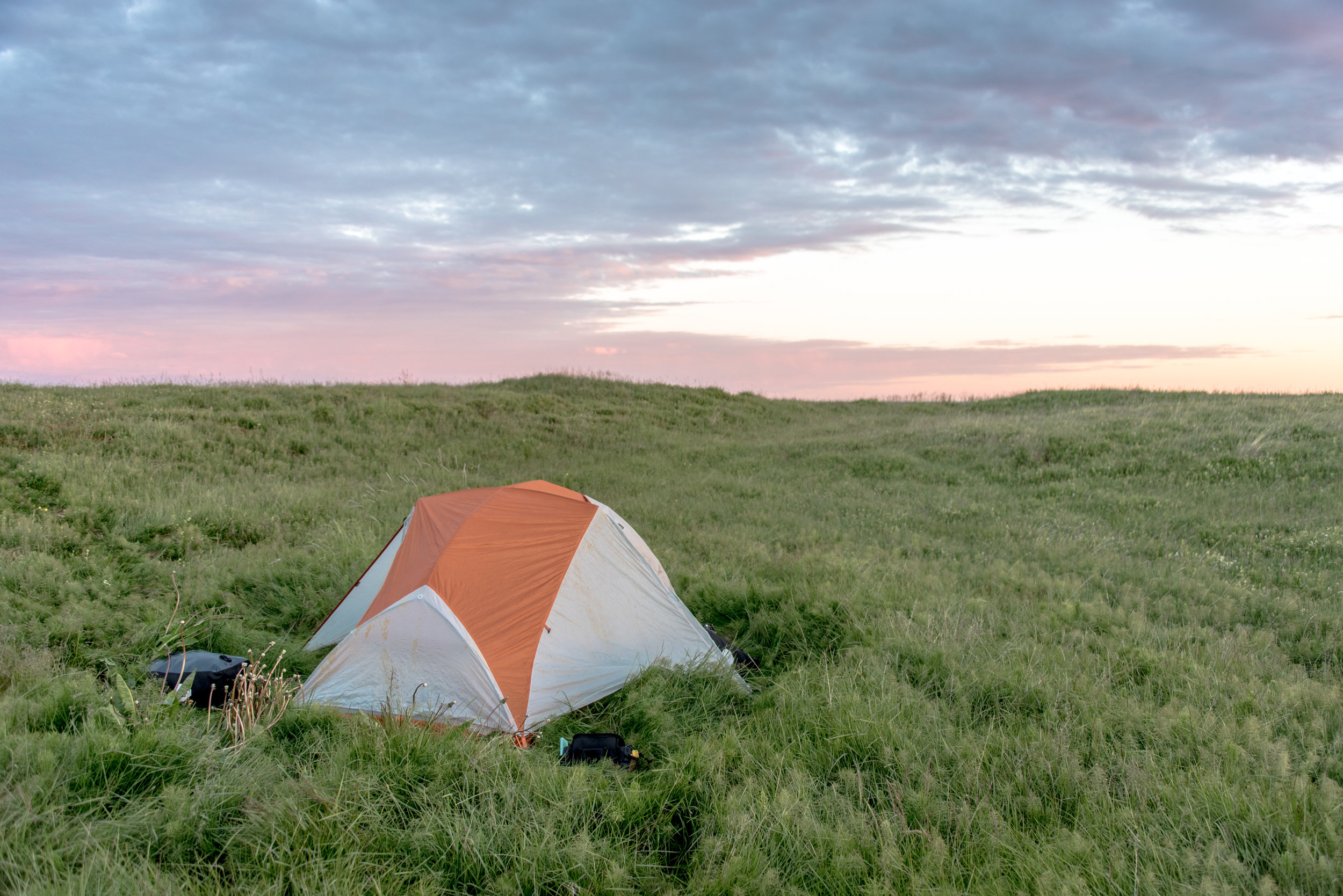 Wild camping on the Icelandic coast after a windy, rainy day of travel.
