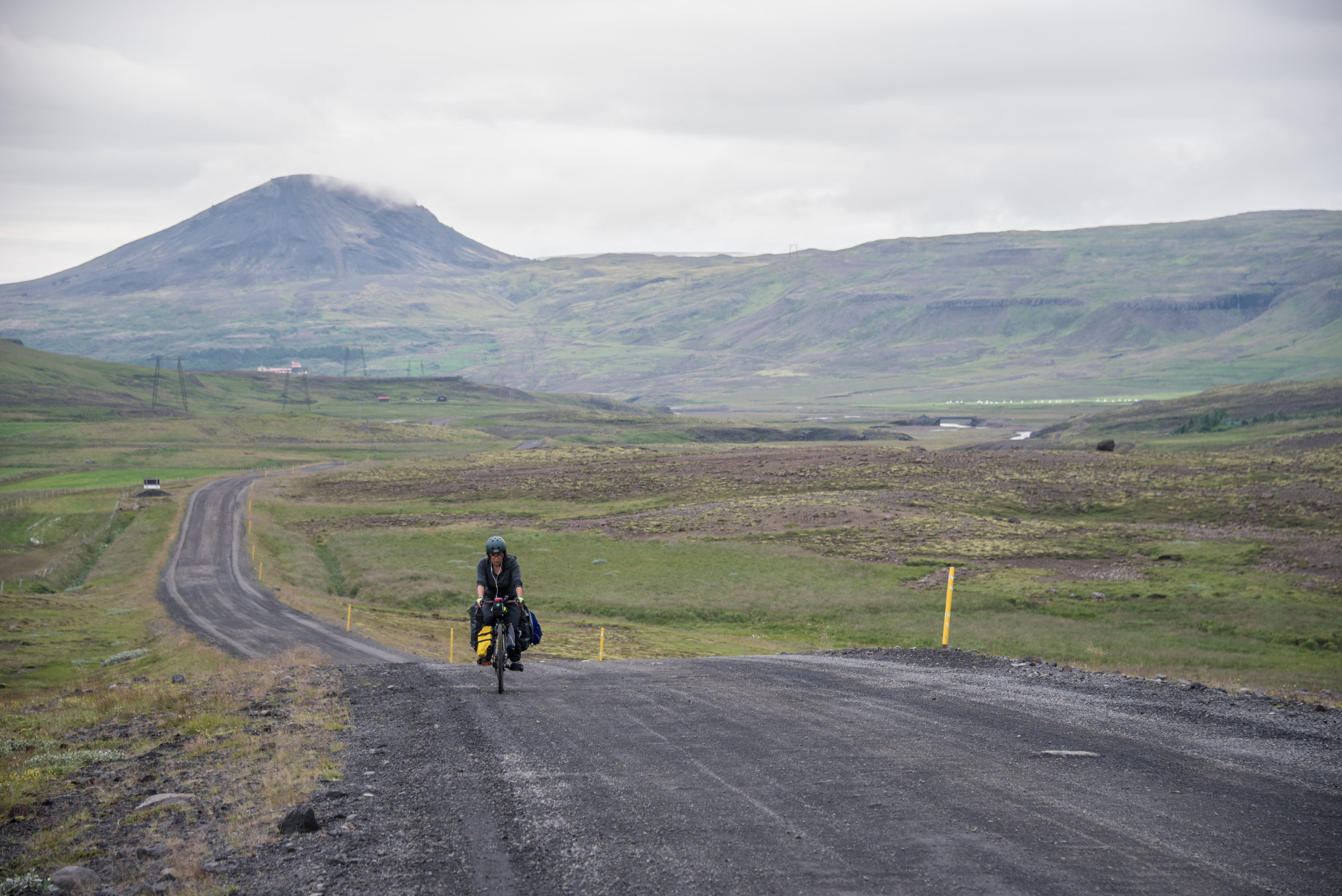 A particularly awful stretch of gravelly, wet, uphill cycling en route to Thingvellir, Iceland.