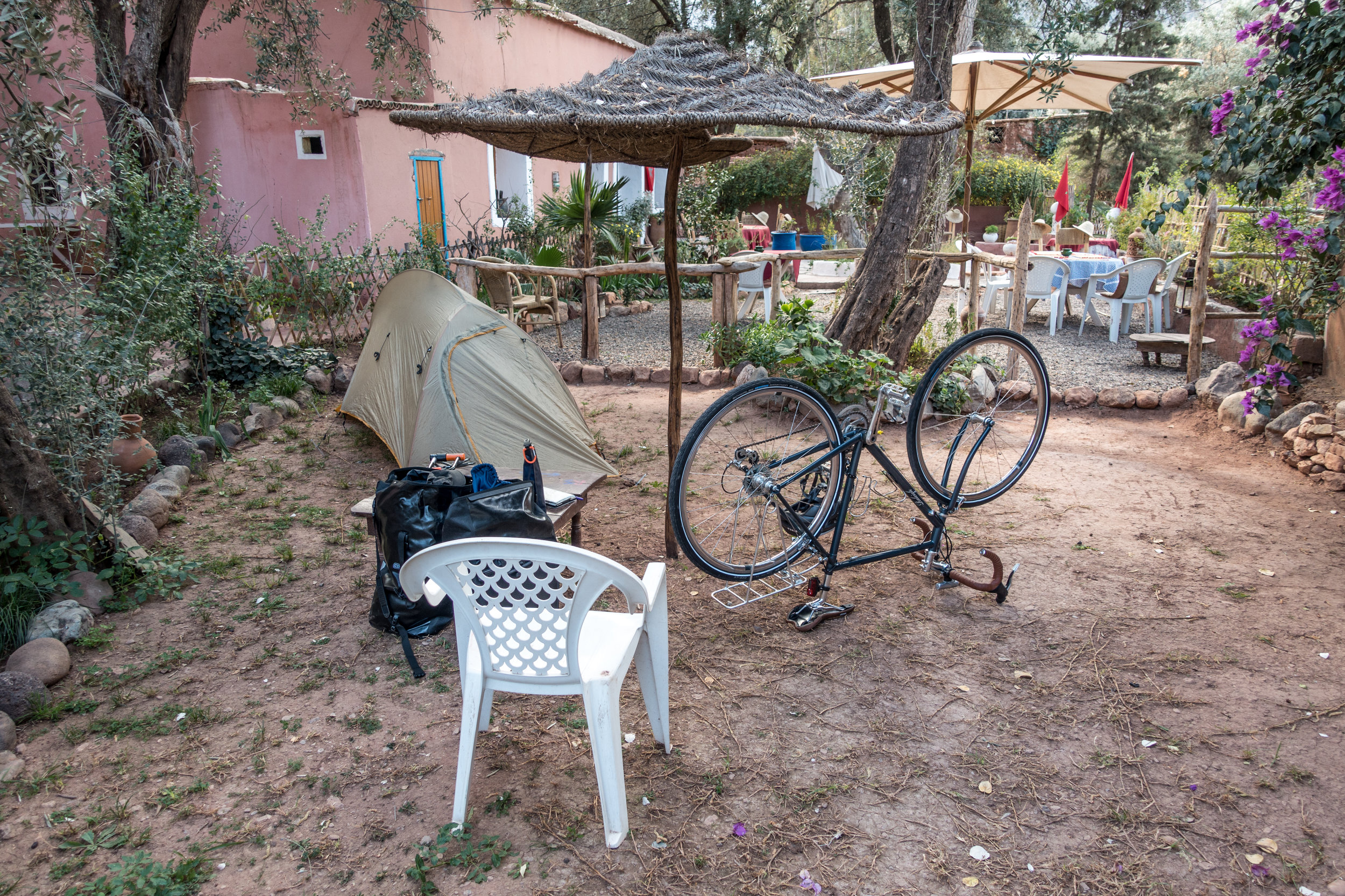 Camping on the lawn of a guesthouse on my very first night of bike travel.