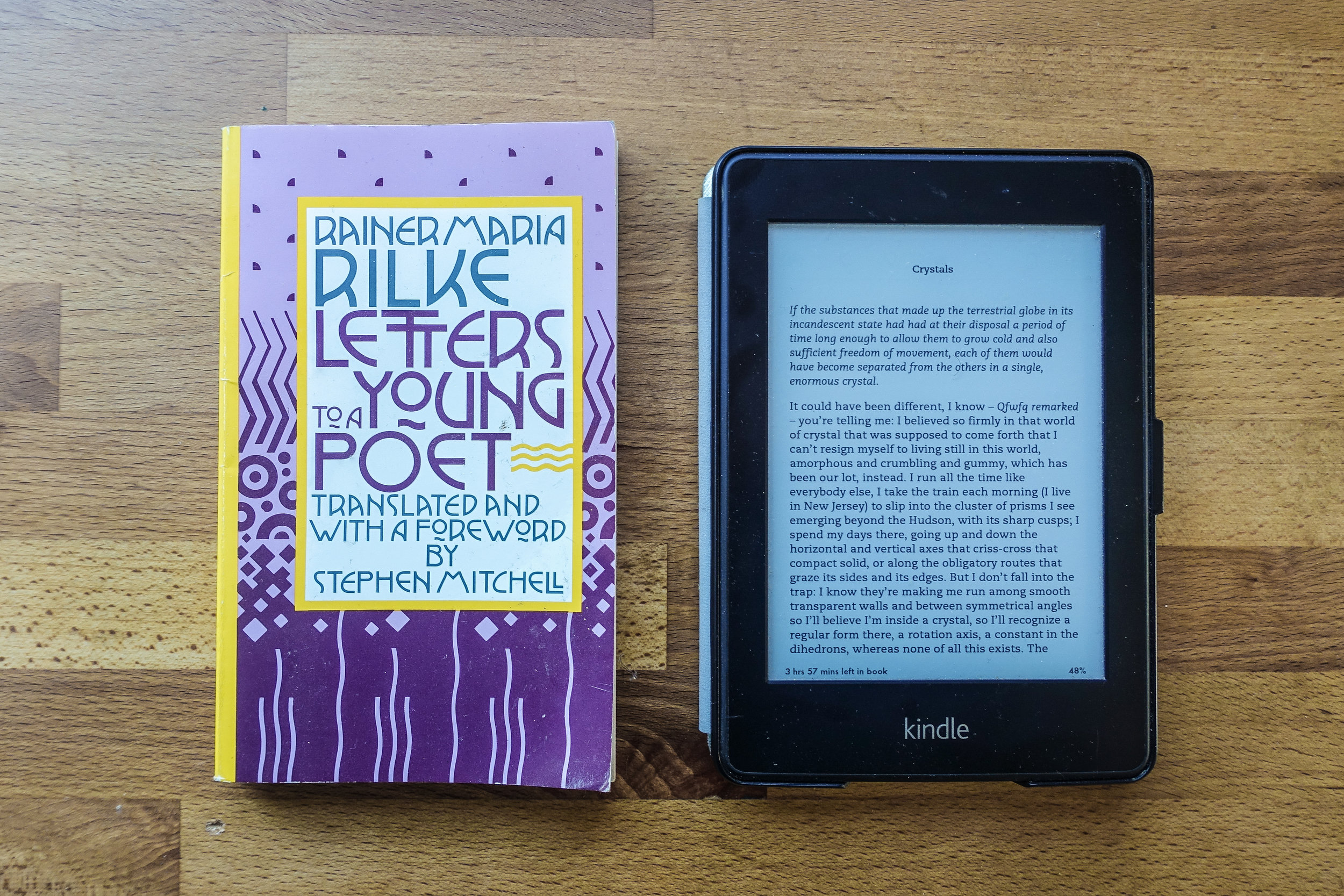 The Kindle Paperwhite is just about the same height, width, and depth as Rainer Maria Rilke's (very small) 'Letters to a Young Poet,' though the Kindle is heavier than this particular paperback.