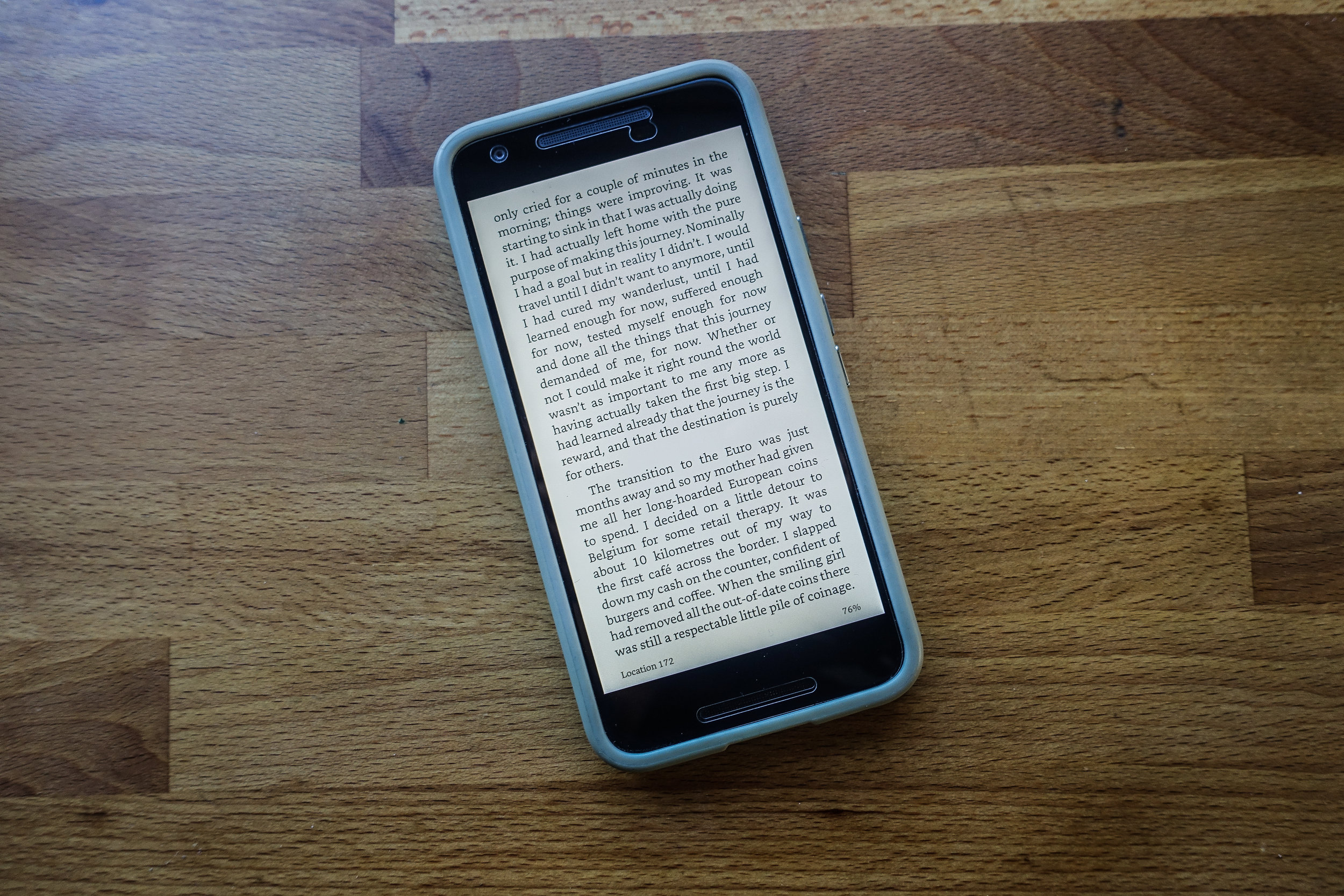 The Kindle app on a Nexus 5X phone.