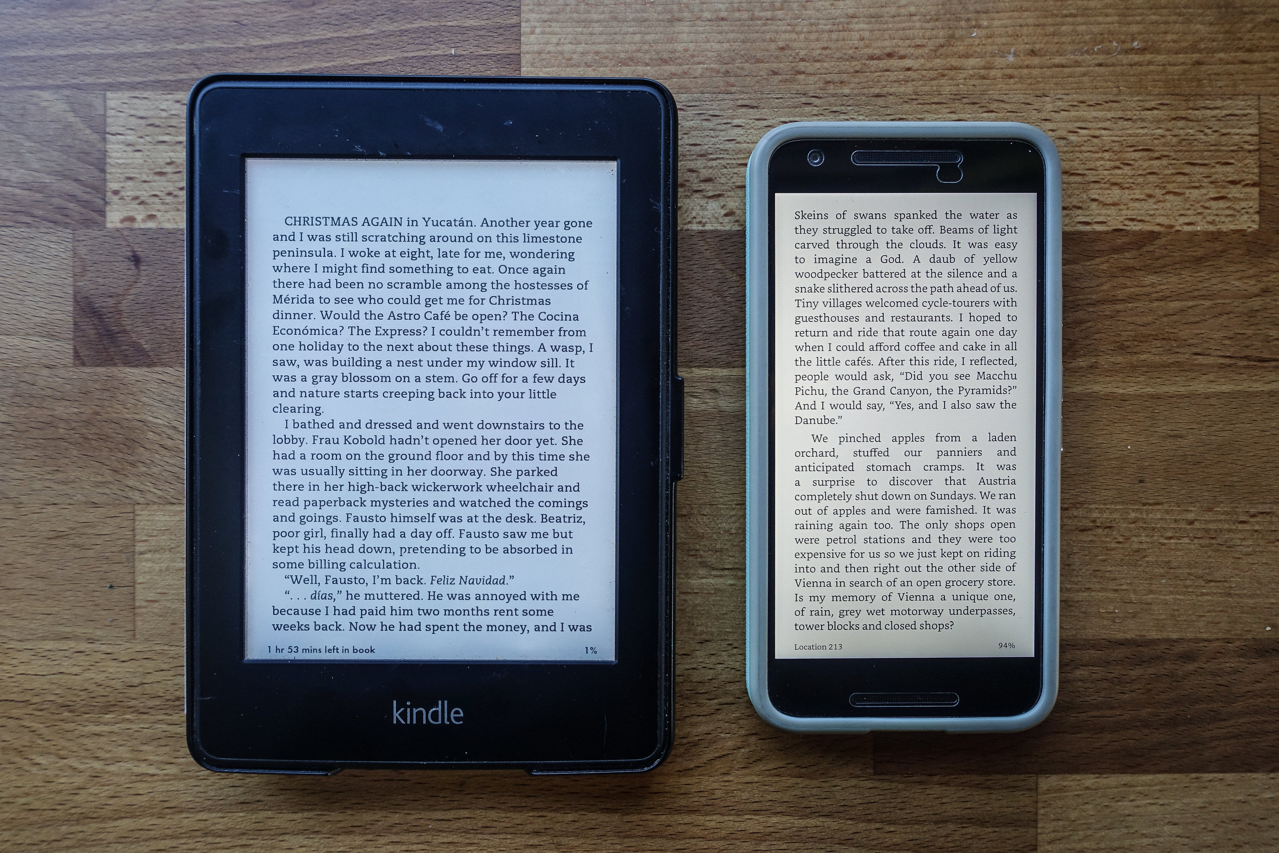 Kindle Paperwhite (left) and Kindle app on Nexus 5X (right).