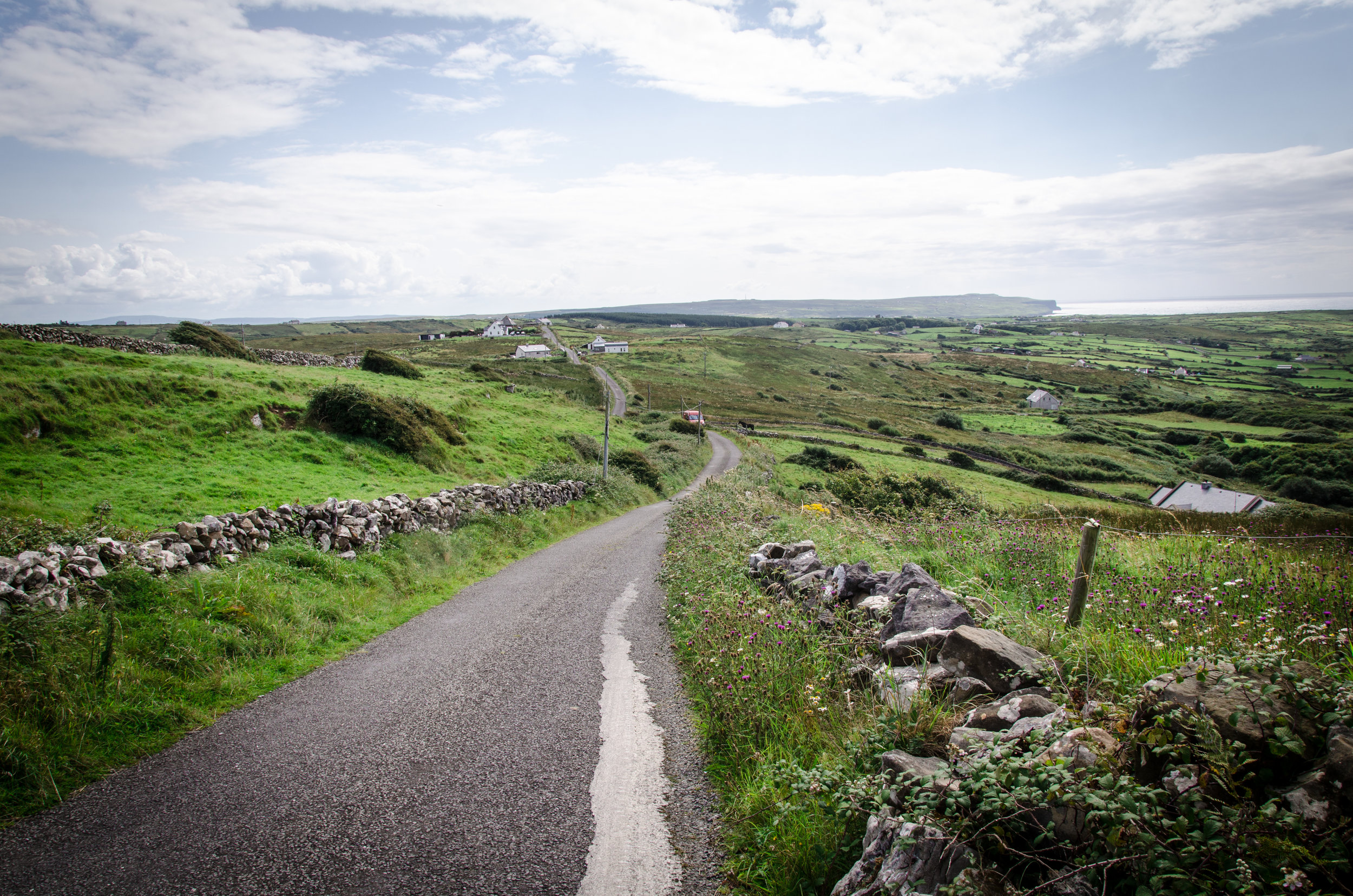 The lush and rugged coastline just north of Doolin, Ireland at the end of an incident-free summer roaming Europe.