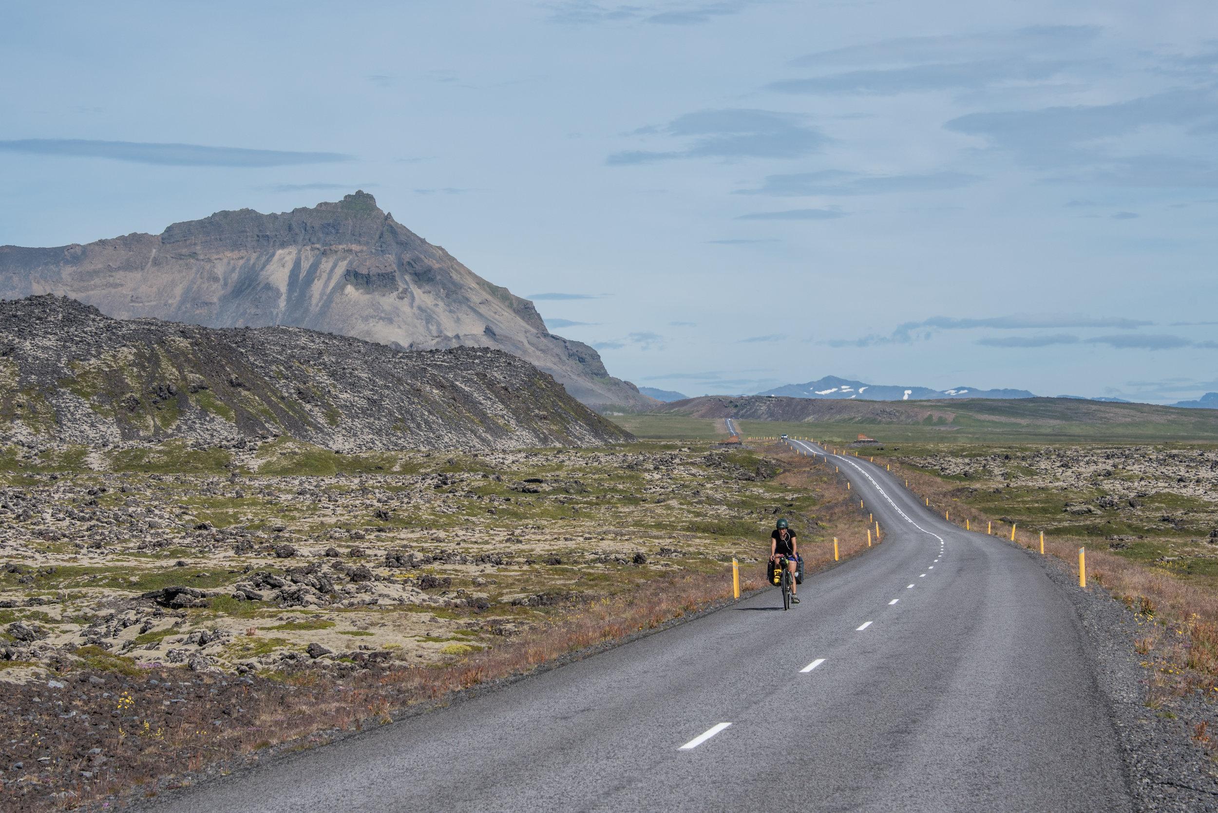 Lauren riding around Snæfellsjökull National Park at the far end of the Snaefellsnes peninsula.