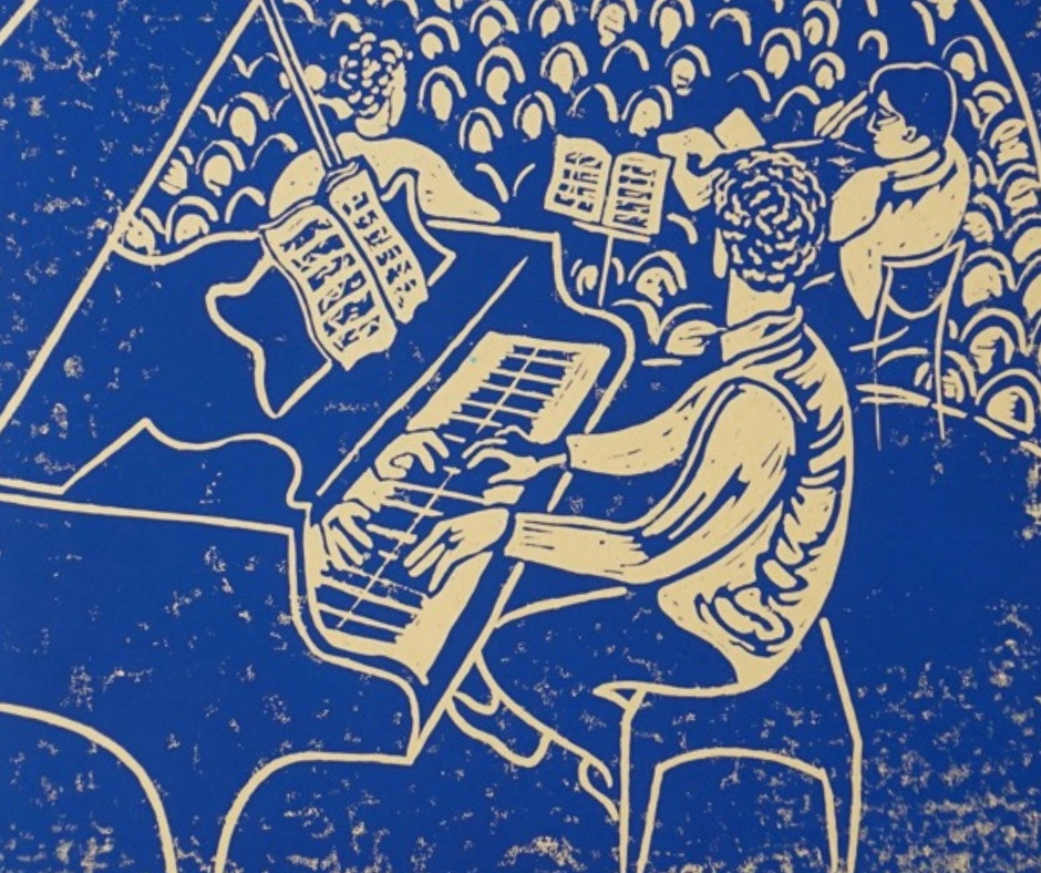 A candle-lit chamber music concert in your own home commemorated with a lino-cut print captured by artist Sophie Lewisohn. Made from sketches during the evening, you will receive 8 stunning hand-printed copies