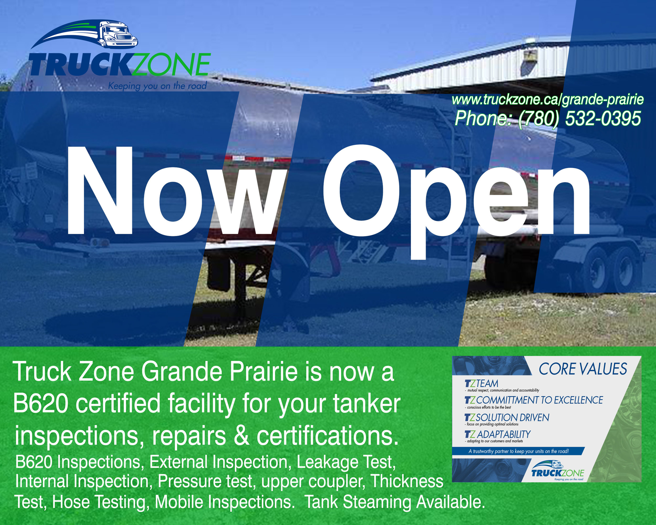 Truck Zone Grande Prairie is now a B620 certified facility for your