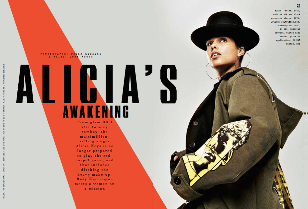Alicia Keys interview,  Sunday Times Style