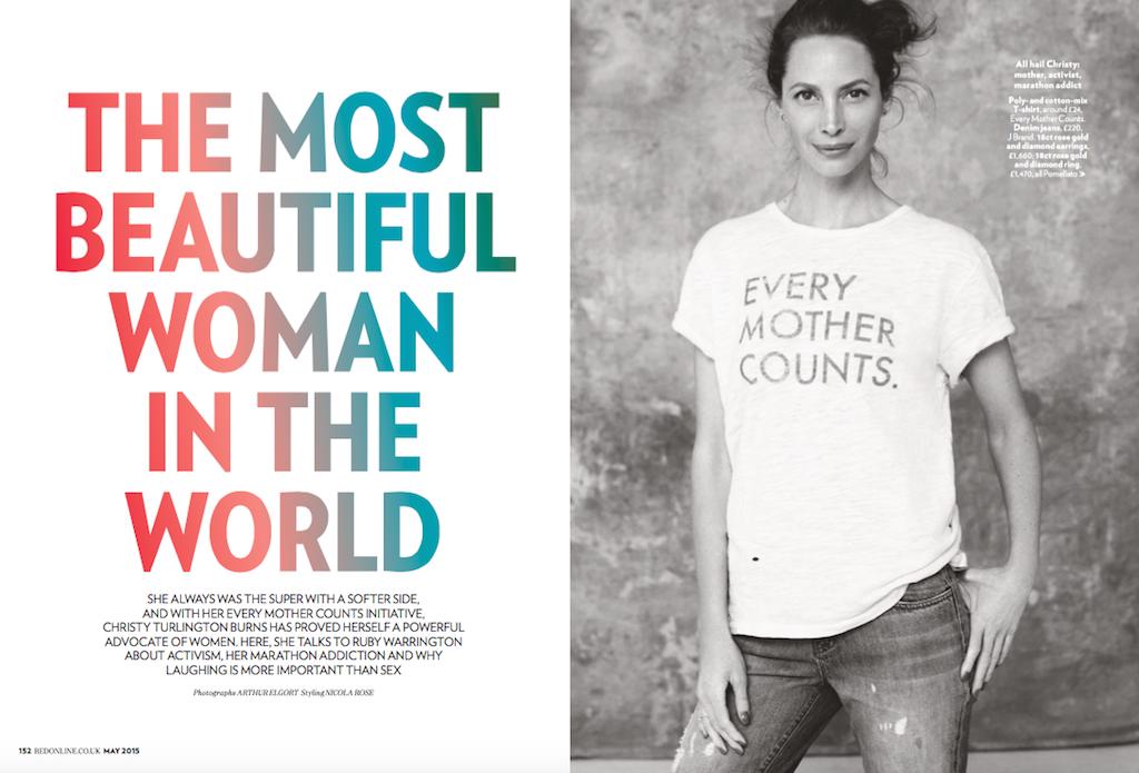 Christy Turlington interview,  Red Magazine