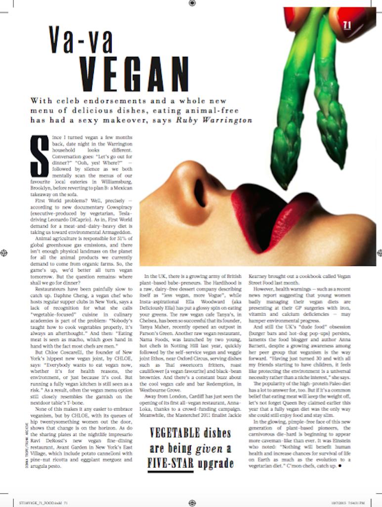 Veganism goes glam,  Sunday Times Style