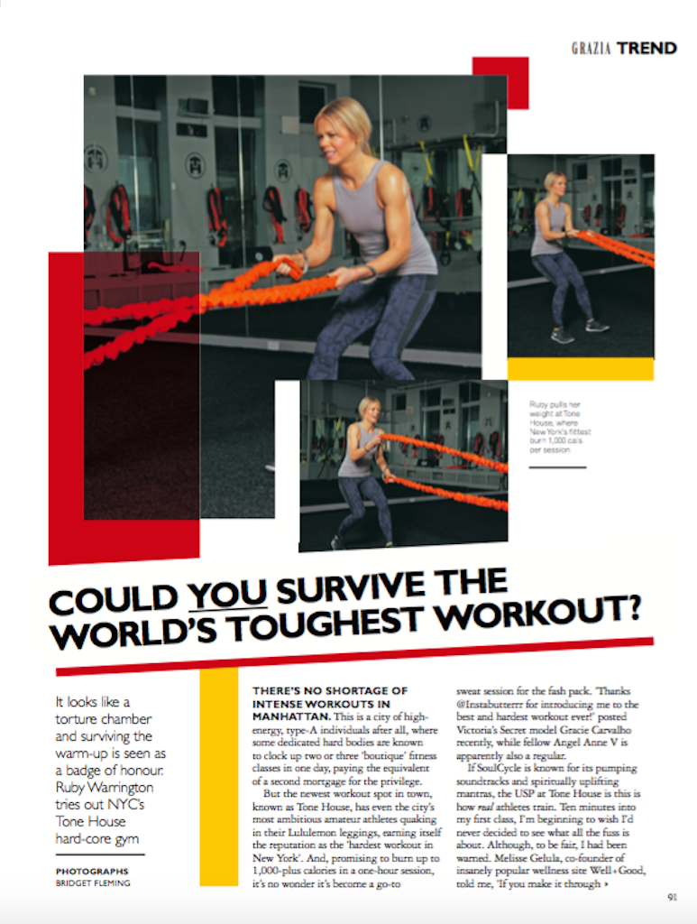 NYC's toughest workout,  Grazia magazine