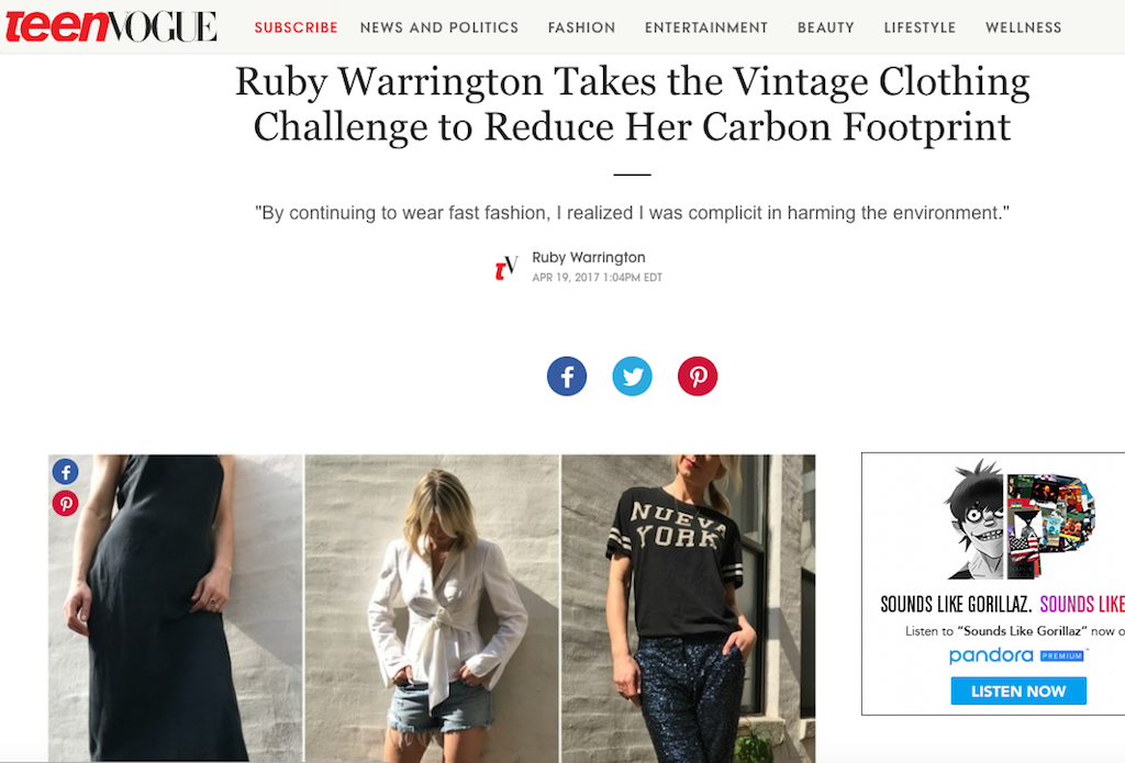 Vintage as ethical fashion, Teen Vogue