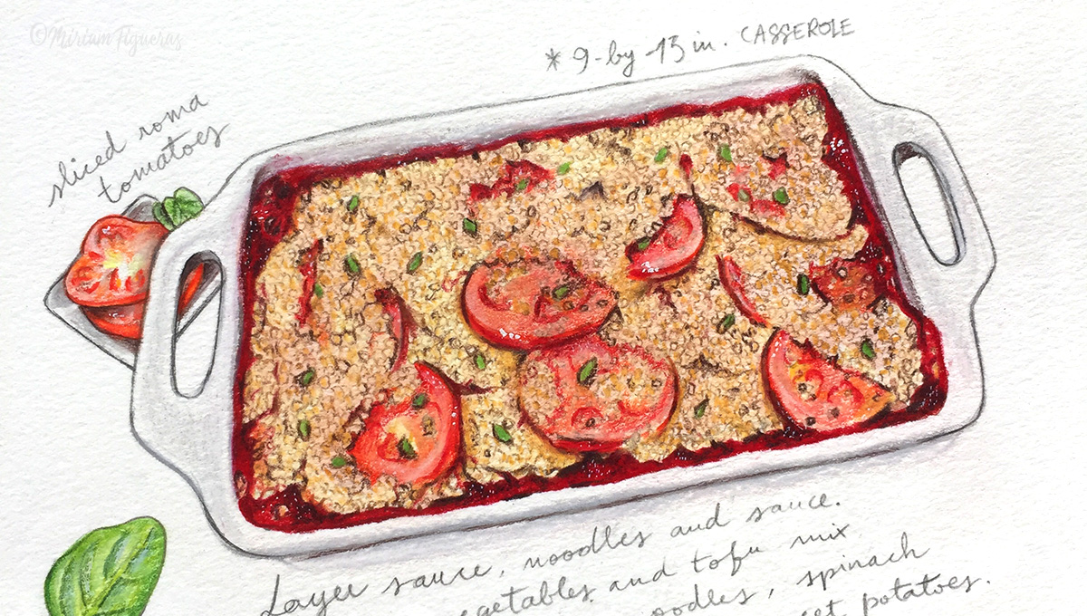 Detail of the my latest commission of a vegan lasagna recipe.