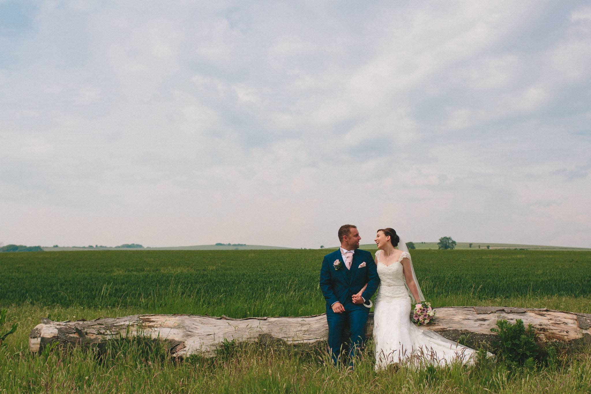 bride and groom at long furlong barn