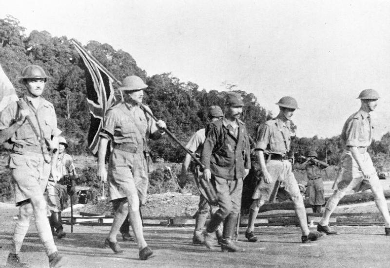Lieutenant-General Arthur Earnest Percival on his way to surrender Singapore to Japan, 15 February 1942