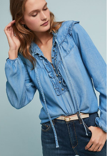 Ruffled Chambray Button Down