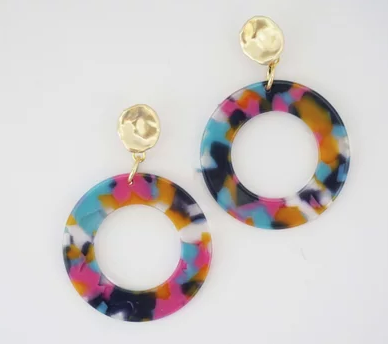 Multi-Color Acrylic Circle Earrings