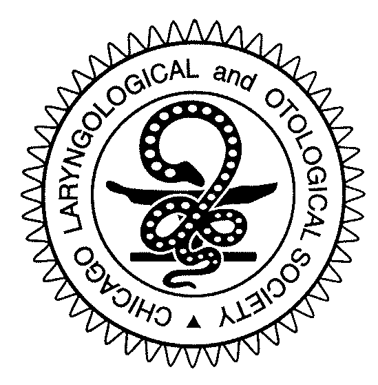 Symbol of the Chicago Laryngological and Otological Society. Although its origin remains unknown, the serpent, a traditional symbol in medicine, probably represents the struggle between life and death. The oil lamp (represented as a horizontal bat with upturned ends) is a symbol of knowledge.