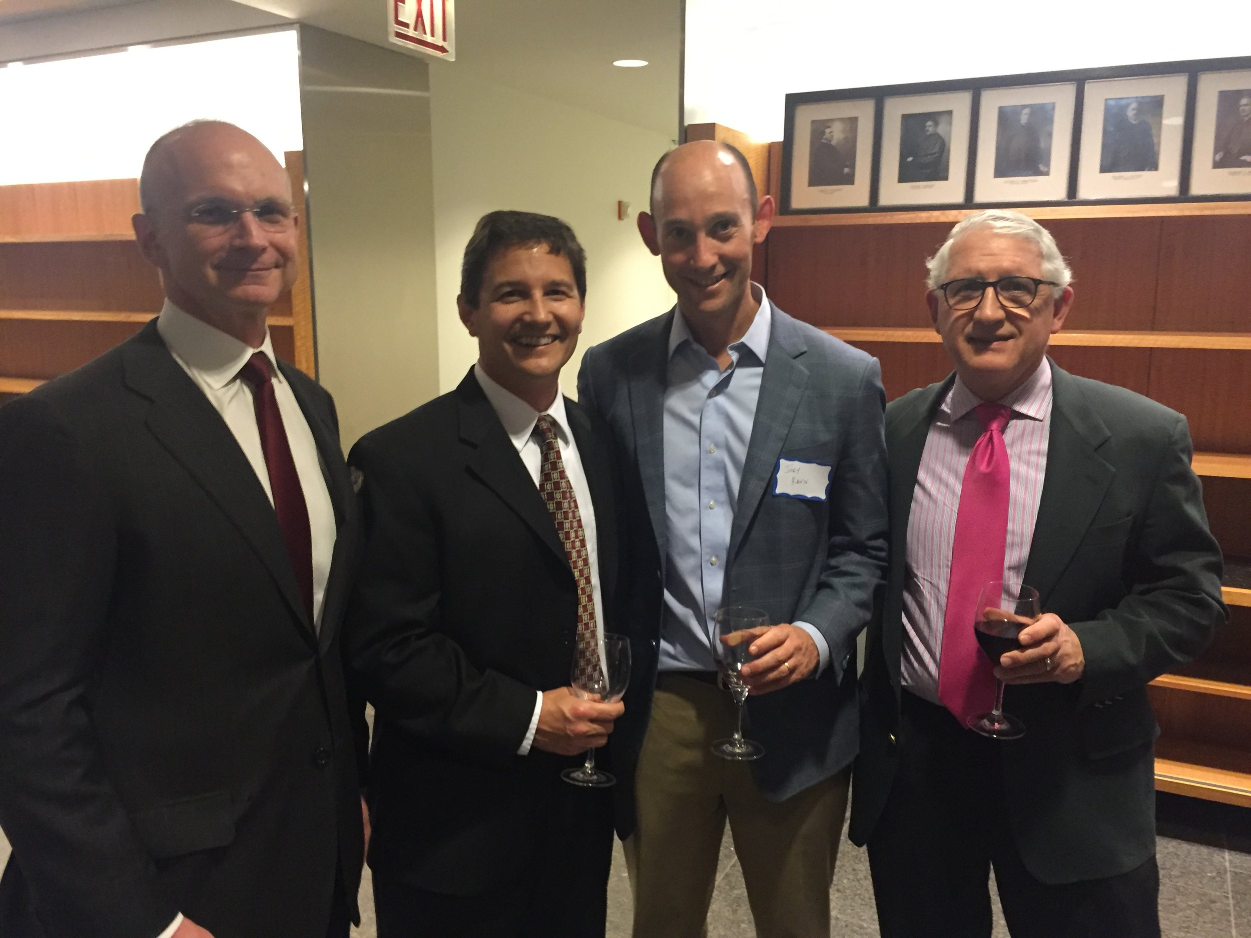 From the November 17th meeting: Guest speaker Dr. Rodney Schlosser (2nd from left) with CL&O members Dr. Robert Kern (Northwestern), Dr. Joseph Raviv (Northshore), and Dr. James Stankiewicz (Loyola)