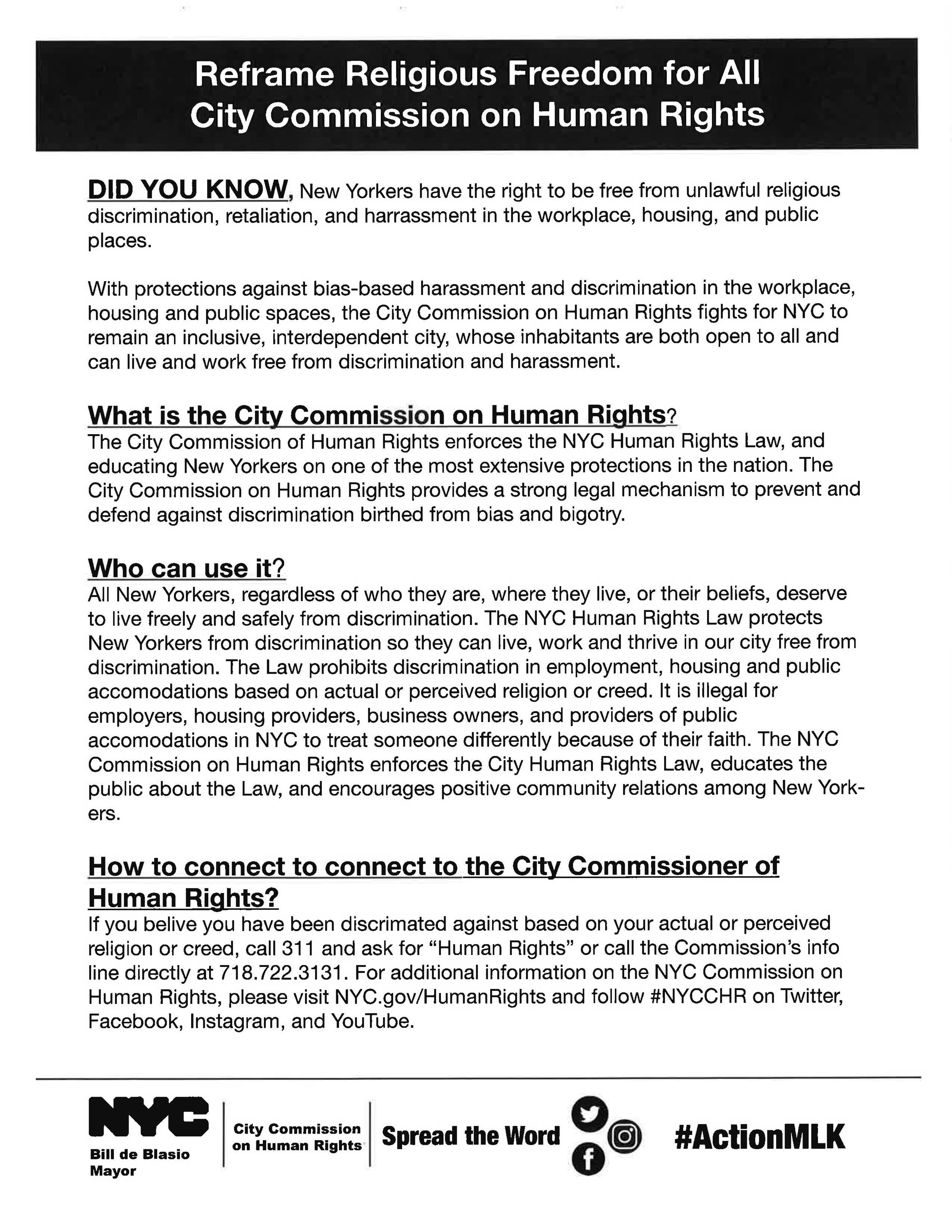 Reframe Religious Freedom for All City Commission on Human Rights