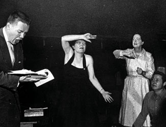 Margo demonstrating an action in rehearsal for  Inherit the Wind.
