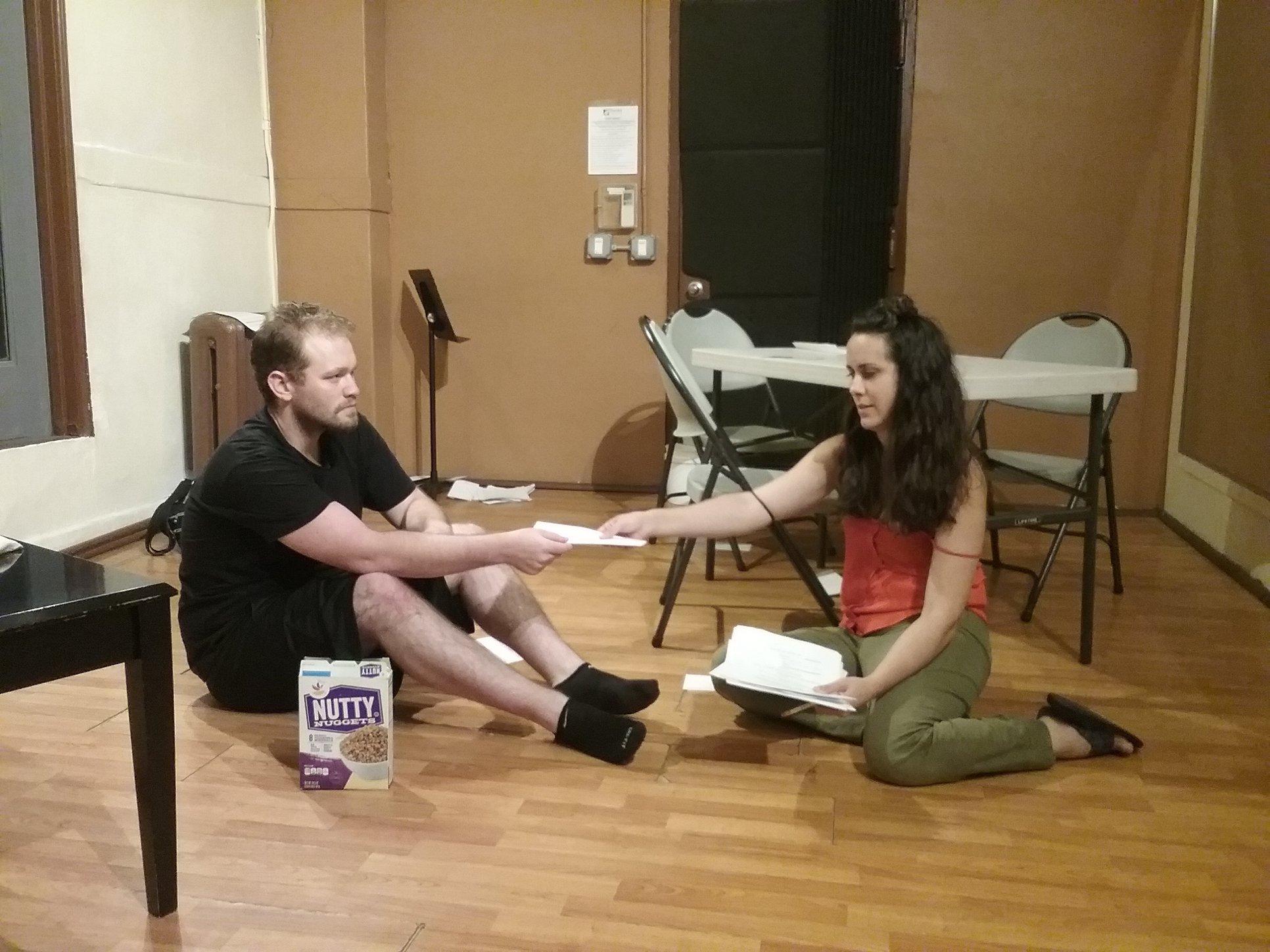 Rehearsal image, Matthew Philip Smith and Hilary Kelman