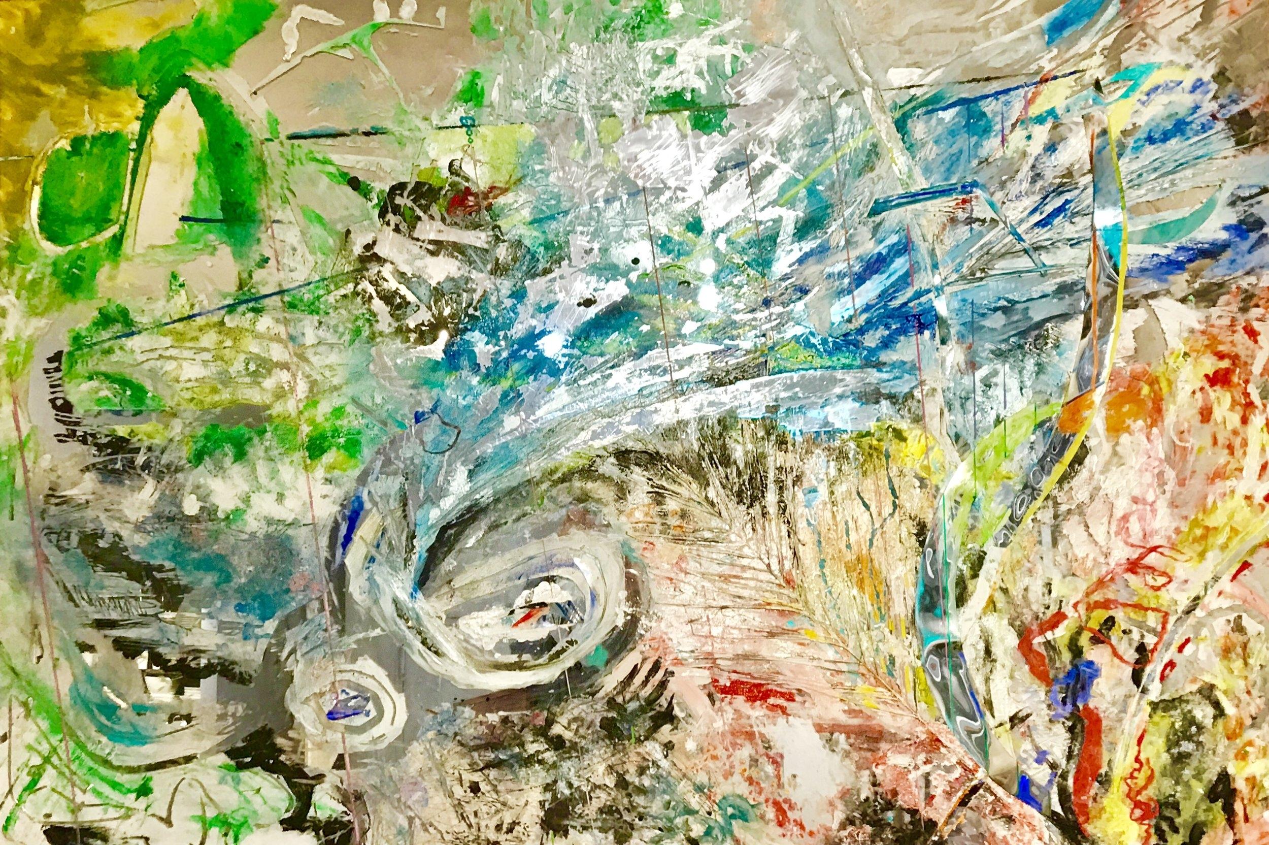 """Copper Wave   2017, 38"""" x 56""""  acrylic on plexiglass mirror"""