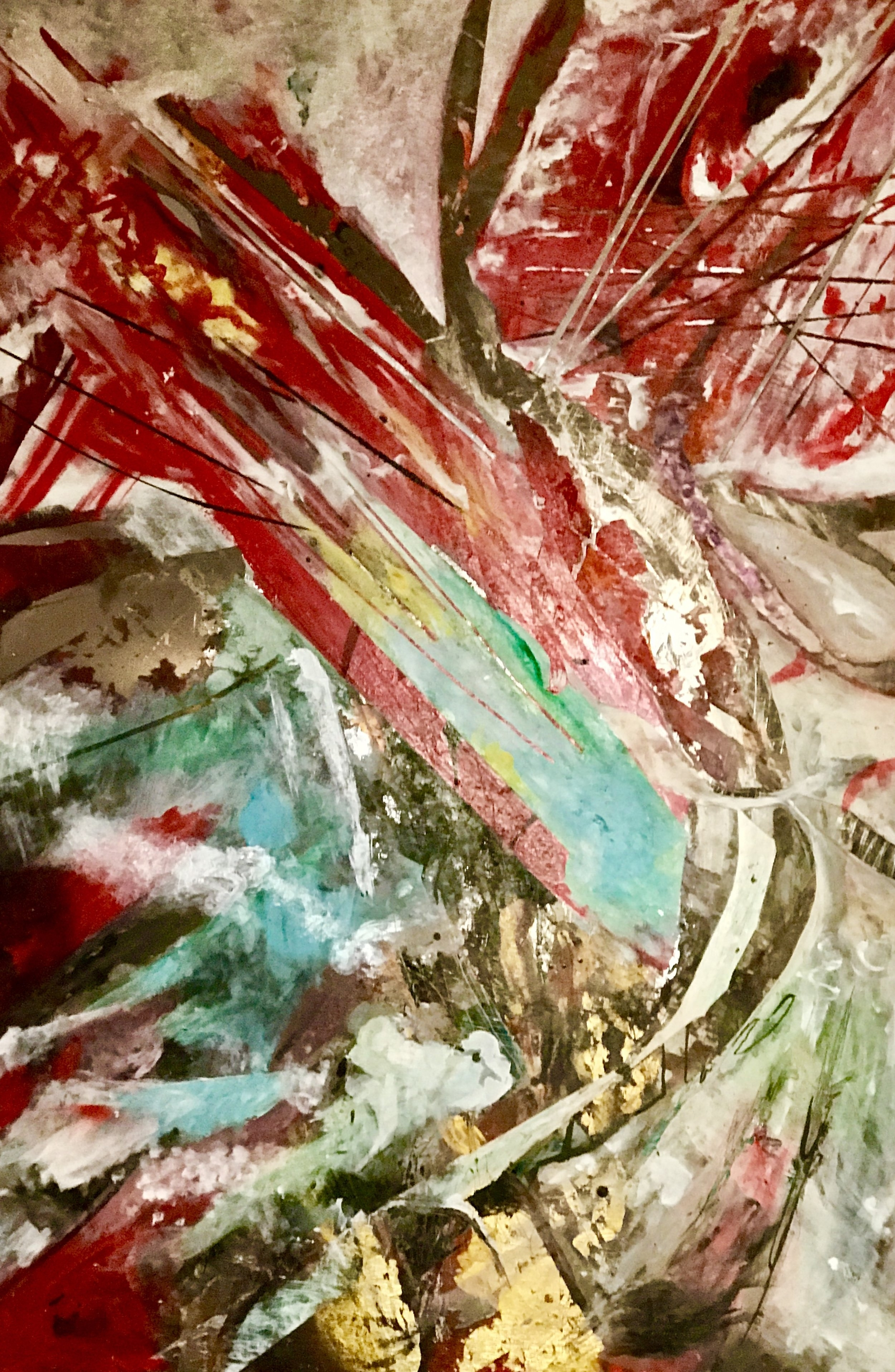 "Fire and Ice   2017, 38"" x 56""  acrylic on plexiglass mirror"