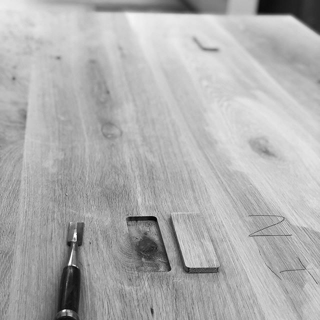 Passion driving perfection ✨ Here we routed out a knot in this White Oak dining table and inserted a strip from an off-cut of the same piece of lumber to create a seamless patch