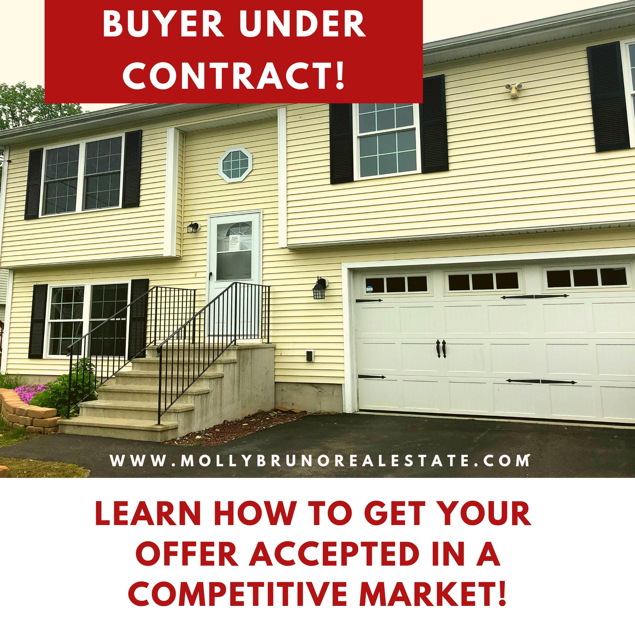 Get your offer accepted in a seller's market! Don't lose out on buying a home. Contact Molly Bruno for a buyer's consultation call/txt 860.961.8627.