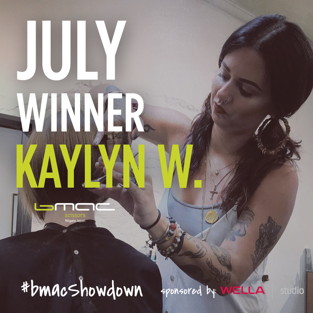 "Congratulations to Kaylyn W.  @kaylyn_walborn_hair  ! Your video was superb to say the least!  #BmacShowdown  Monthly Winner for the month of July. DM us to collect your prize! ✄💚 - Remember AUGUST 2019 is the last month to send in your entries! If you have not sent in your entries, do so! If you have already sent at least one entry, SEND ANOTHER ONE! The more entries you submit, the better chances you have to WIN the Grand Prize. -  #Protip : Since this is an all expense paid trip to Japan, we are looking for high quality submissions! Think production of the video, the style of the video, the cutting/techniques you show, the famous ""b-rolls"" of Bmac scissors, your photo to present your overall work! A trip of a life time is waiting for you! 🇯🇵  #BmacShowdown  #WellaStudio   @thewellastudio"