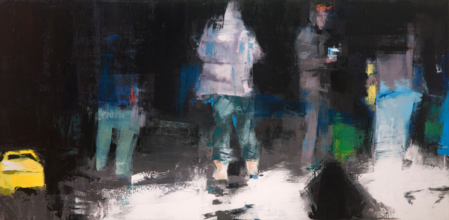 Night of the living good time boys - 15x30 inches - oil on canvas - 2014