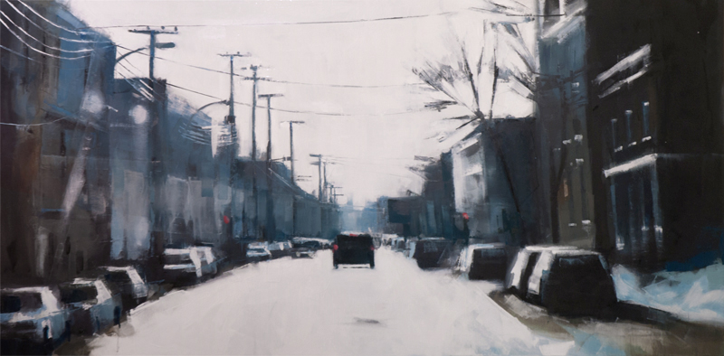 saint viateur traffic - 24x48 inches - oil on canvas - 2013