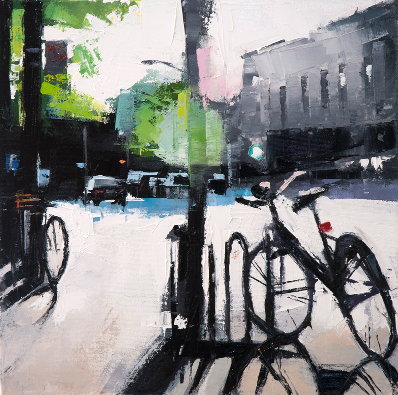 Sherbrooke bicycle rack - 12x12 inches - oil on canvas - 2013