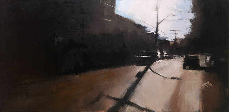 st. henri telephone poles - 18x36 inches - oil on canvas - 2013