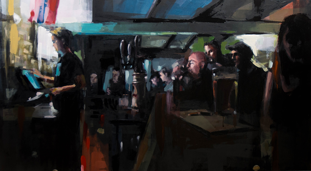 Beer and Change (Barfly) - 24x36 inches - oil on wood board - 2017