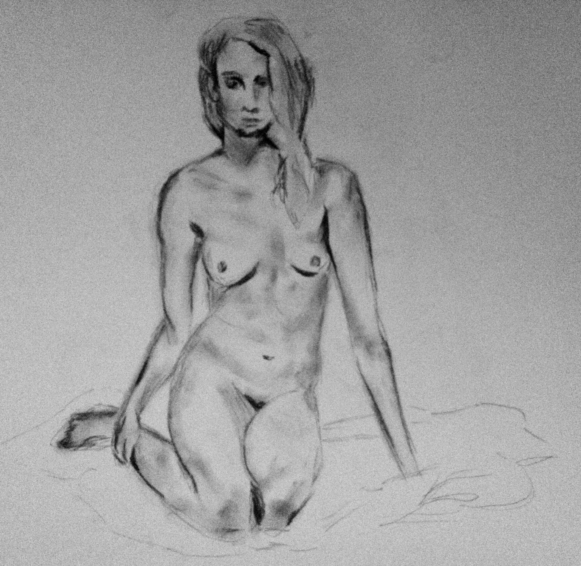 Life Drawing - Compressed charcoal on 18x24 newsprint